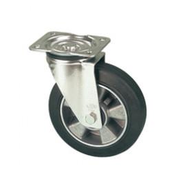 ZVK 160/GM   Otočné kolo  s černou gumovou obručí bez brzdy