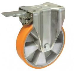 ZPK 160/FMD  Pevné bržděné  kolo se žlutou polyuretanovou obručí