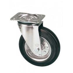 LNK 160/GR  Otočné kolo s černou gumovou  obručí
