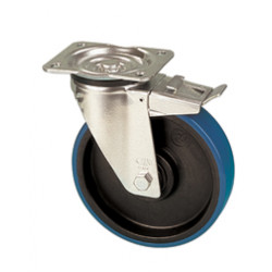 NDR 100/GRD   Otočné kolo s modrou polyuretanovou obručí s brzdou