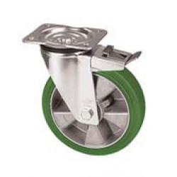 ZZK 100/GRD  Otočné kolo se zelenou polyuretanovou obručí s brzdou