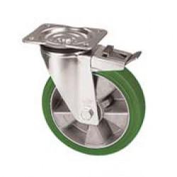ZZK 125/GRD  Otočné kolo se zelenou polyuretanovou obručí s brzdou