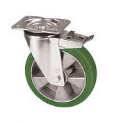 ZZK 200/GMD  Otočné kolo se zelenou polyuretanovou obručí s brzdou
