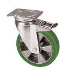 ZZK 200/GTD  Otočné kolo se zelenou polyuretanovou obručí s brzdou