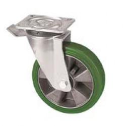 ZZK 200/GHN   Otočné kolo se zelenou polyuretanovou  obručí s brzdou